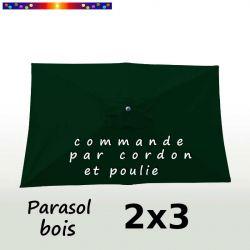 Parasol Lacanau Vert Pinède 2x3 Bois : vu de dessus
