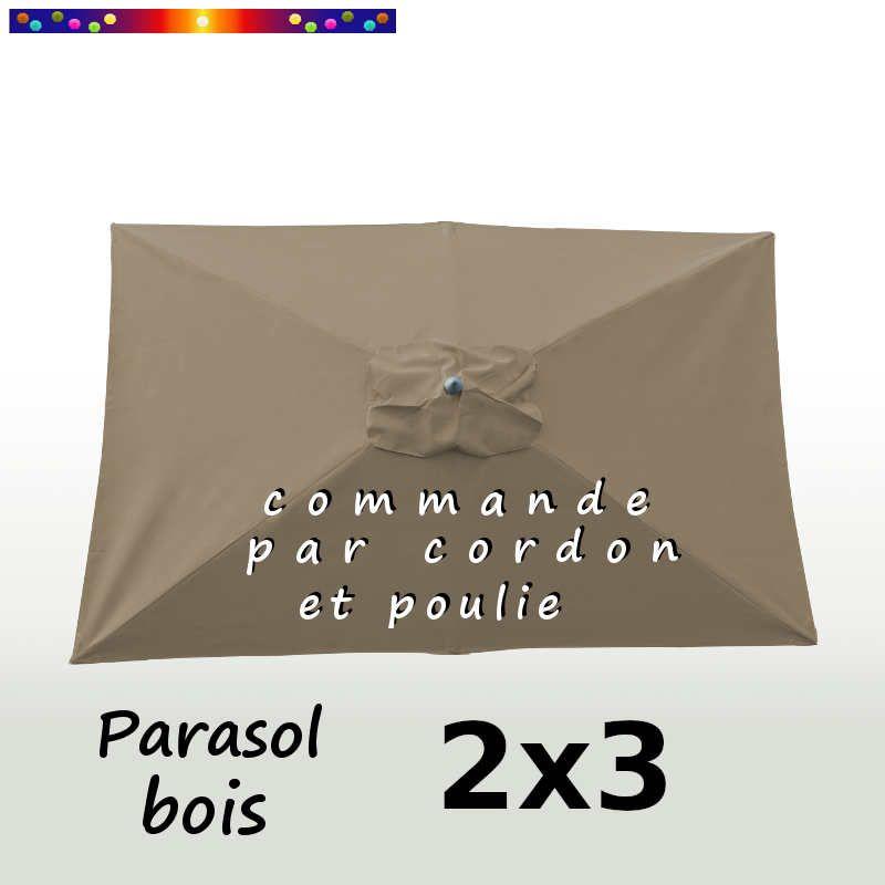 Parasol Lacanau Chamois 2x3 Bois : vu de dessus