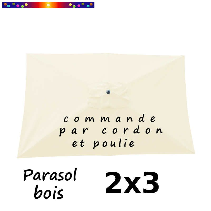 Parasol Lacanau Ecru Crème 2x3 Bois : vu de dessus