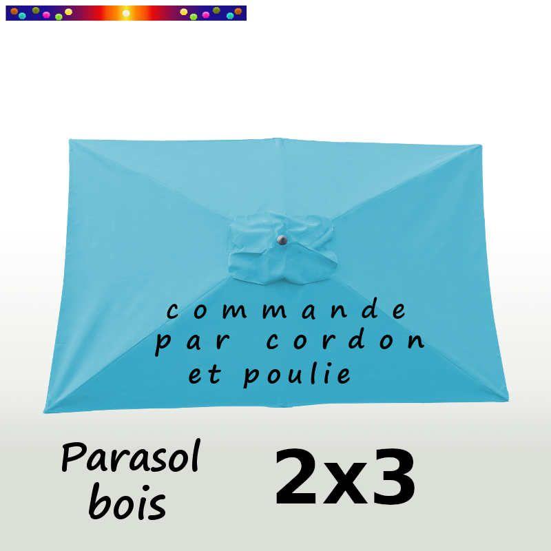 Parasol Lacanau Bleu Turquoise 2x3 Bois : vu de dessus