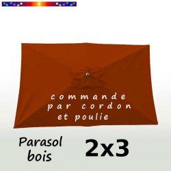 Parasol Lacanau Terracotta 2x3 Bois : vu de dessus