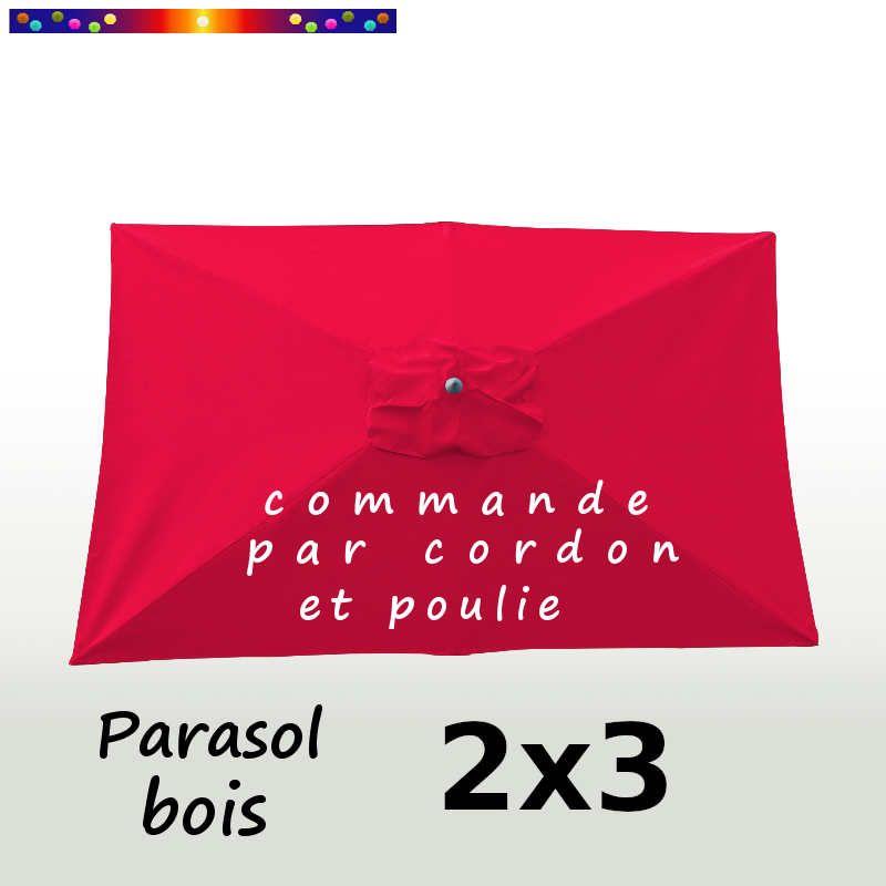 Parasol Lacanau Rouge Coquelicot 2x3 Bois : vu de dessus