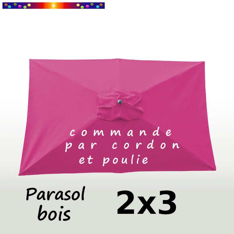 Parasol Lacanau Rose Fushia 2x3 Bois : vu de dessus