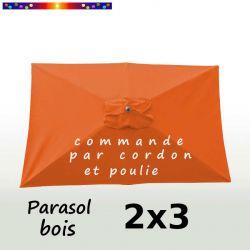 Parasol Lacanau Orange Capucine 2x3 Bois : vu de dessus