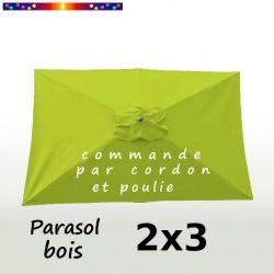 Parasol Lacanau Vert Lime 2x3 Bois : vu de dessus