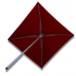 Parasol Lacanau Rouge Bordeaux 200 cm x 200 cm Alu : vu de dessous