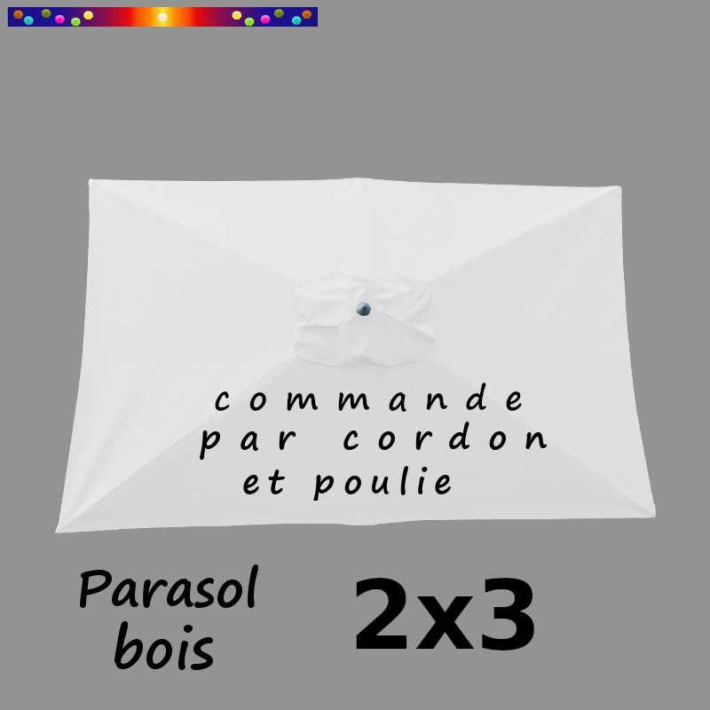 Parasol Lacanau Blanc Jasmin 2x3 Bois : vu de dessus