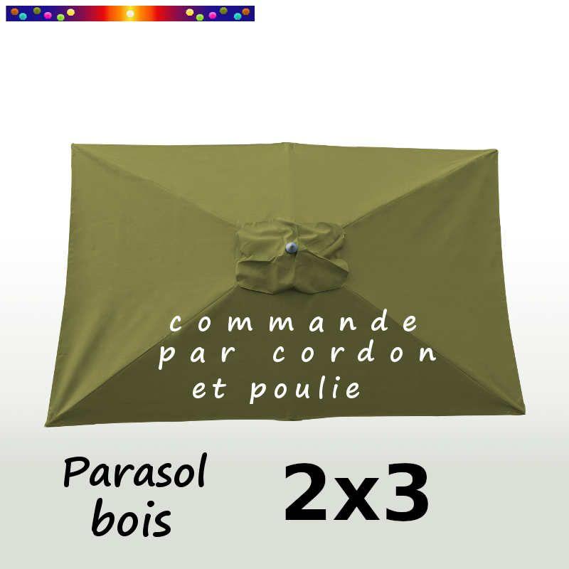 Parasol Lacanau Vert Lichen 2x3 Bois  : vu de dessus