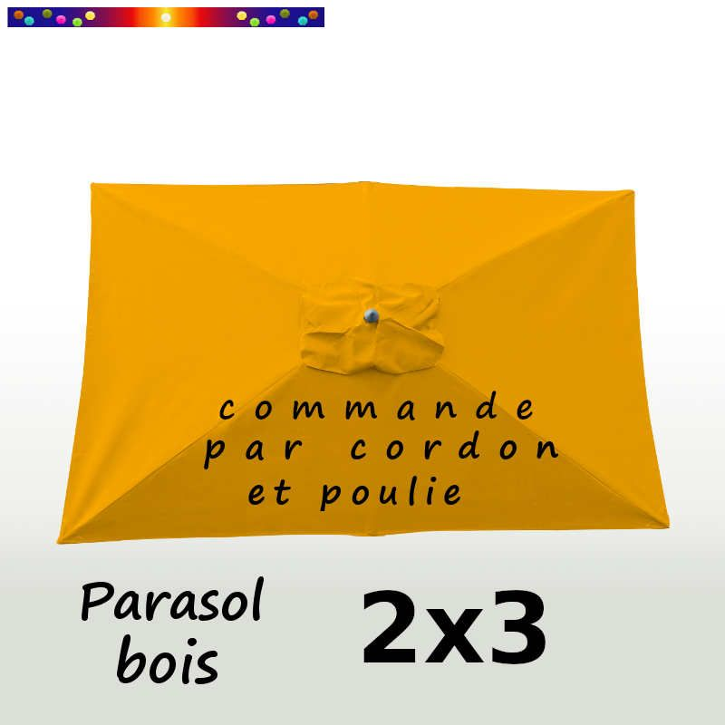 Parasol Lacanau Jaune Tournesol 2x3 Bois  : vu de dessus