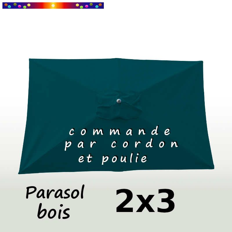 Parasol Lacanau Bleu Ocean 2x3 Bois  : vu de dessus