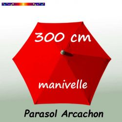 Parasol Arcachon Rouge 300 cm Alu Manivelle : vu de dessus