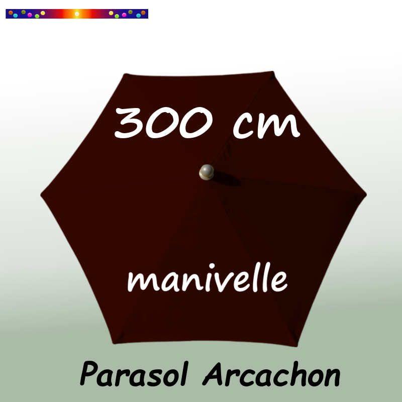 Parasol Arcachon Mocca 300 cm Alu Manivelle : vu de dessus