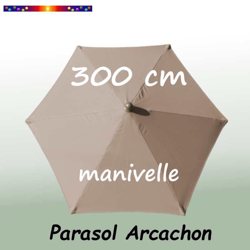Parasol Arcachon Taupe 300 cm Alu Manivelle : vu de dessus