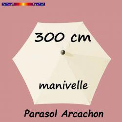 Parasol Arcachon Ecru 300 cm Alu Manivelle : vu de dessus