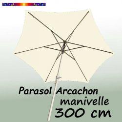 Parasol Arcachon Ecru 300 cm Alu Manivelle : vu de dessous