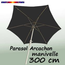Parasol Arcachon Gris Anthracite 300 cm Alu Manivelle : vu de dessous
