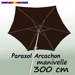 Parasol Arcachon Mocca 300 cm Alu Manivelle : vu de dessous
