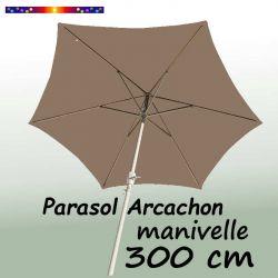 Parasol Arcachon Taupe 300 cm Alu Manivelle : vu de dessous