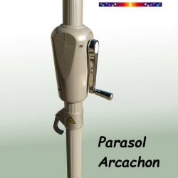 Parasol Arcachon Vert Pinède 350 cm Alu Manivelle : gros plan sur la manivelle
