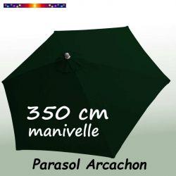 Parasol Arcachon Vert Pinède 350 cm Alu Manivelle : vu de dessus