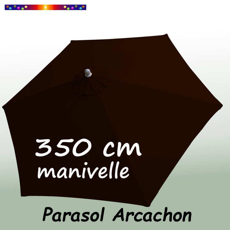 Parasol Arcachon Mocca 350 cm Alu Manivelle : vu de dessus