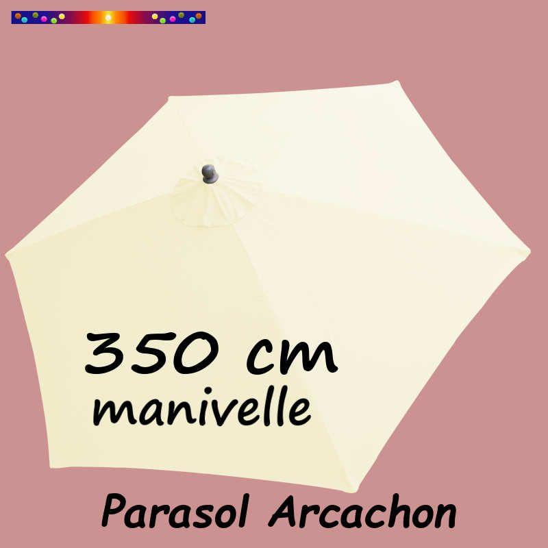Parasol Arcachon Ecru 350 cm Alu Manivelle : vu de dessus