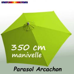 Parasol Arcachon Vert Limone 350 cm Alu Manivelle : vu de dessus
