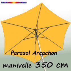 Parasol Arcachon Jaune d'Or 350 cm Alu Manivelle : vu de coté