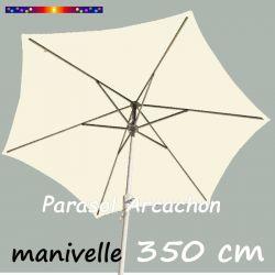 Parasol Arcachon Ecru 350 cm Alu Manivelle : vu de coté