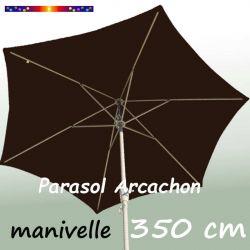 Parasol Arcachon Mocca 350 cm Alu Manivelle  : vu de coté