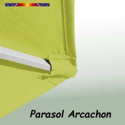 Parasol Arcachon Vert Limone 350 cm Alu Manivelle : détail de la toile coté pochon et de la qualité des coutures