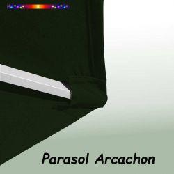 Parasol Arcachon Vert Pinède 350 cm Alu Manivelle : détail de la toile coté pochon et de la qualité des coutures