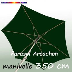 Parasol Arcachon Vert Pinède 350 cm Alu Manivelle : vu de dessous