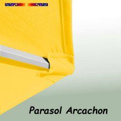 Parasol Arcachon Jaune d'Or 350 cm Alu  : détail de la toile coté pochon et de la qualité des coutures