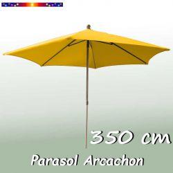 Parasol Arcachon Jaune d'Or 350 cm Alu : vu de face