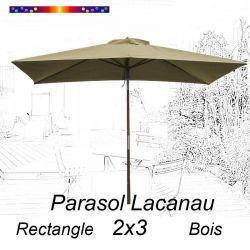 Parasol Lacanau Soie Grège 2x3 Bois : vu de face