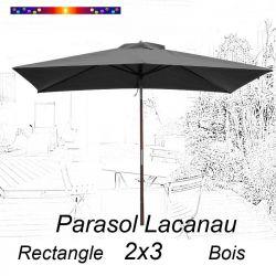 Parasol Lacanau Gris Flanelle 2x3 Bois : vu de face