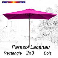 Parasol Lacanau Rose Fushia 2x3 Bois : vu de face