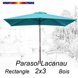 Parasol Lacanau Bleu Turquoise 2x3 Bois : vu de face
