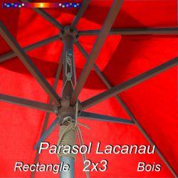 Parasol Lacanau Rouge Coquelicot 2x3 Bois : vu de dessous