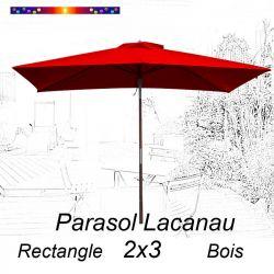 Parasol Lacanau Rouge Coquelicot 2x3 Bois : vu de face