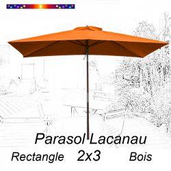 Parasol Lacanau Orange Capucine 2x3 Bois : vu de face