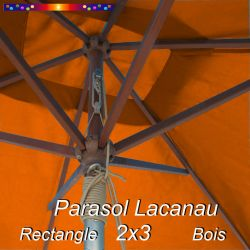 Parasol Lacanau Orange Capucine 2x3 Bois : détail vu de dessous