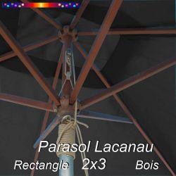 Parasol Lacanau Gris Souris 2x3 Bois : détail vu de dessous