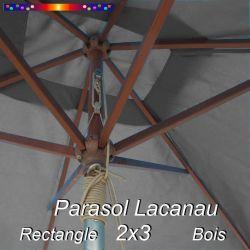 Parasol Lacanau Gris Flanelle 2x3 Bois : détail vu de dessous