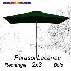 Parasol Lacanau Vert Pinède 2x3 Bois : vu de face