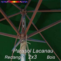 Parasol Lacanau Vert Pinède 2x3 Bois : détail vu de dessous