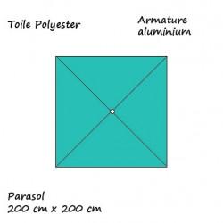 Parasol Lacanau Bleu Turquoise 200 cm x 200 cm alu : descriptif