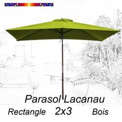 Parasol Lacanau Vert Lime 2x3 Bois : vu de face