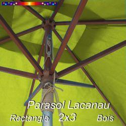 Parasol Lacanau Vert Lime 2x3 Bois : détail vu de dessous